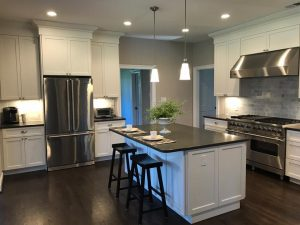 new island installation for kitchen remodeling project