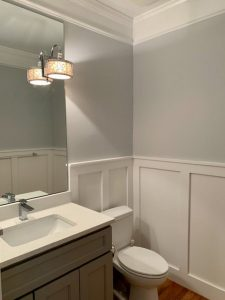 wall trim in a bathroom as part of a home makeover