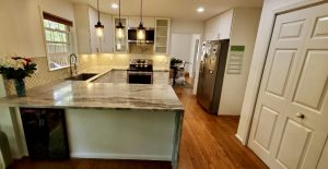 complete kitchen remodel with l shaped countertops in maryland