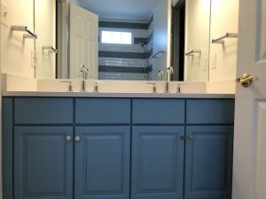 gorgeous blue cabinets as part of a bathroom vanity for a maryland bathroom remodel