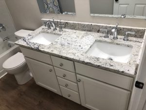 new vanity with double sinks and countertops for a rockville md bathroom makeover