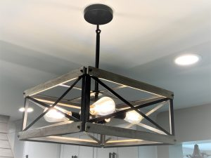 new light fixture has part of a kitchen remodel in maryland